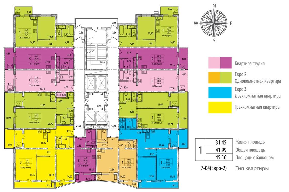 План 8-15 этажей