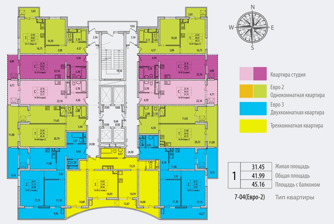 План 16-18 этажей