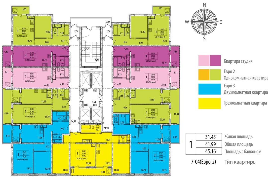 План 19-24 этажей